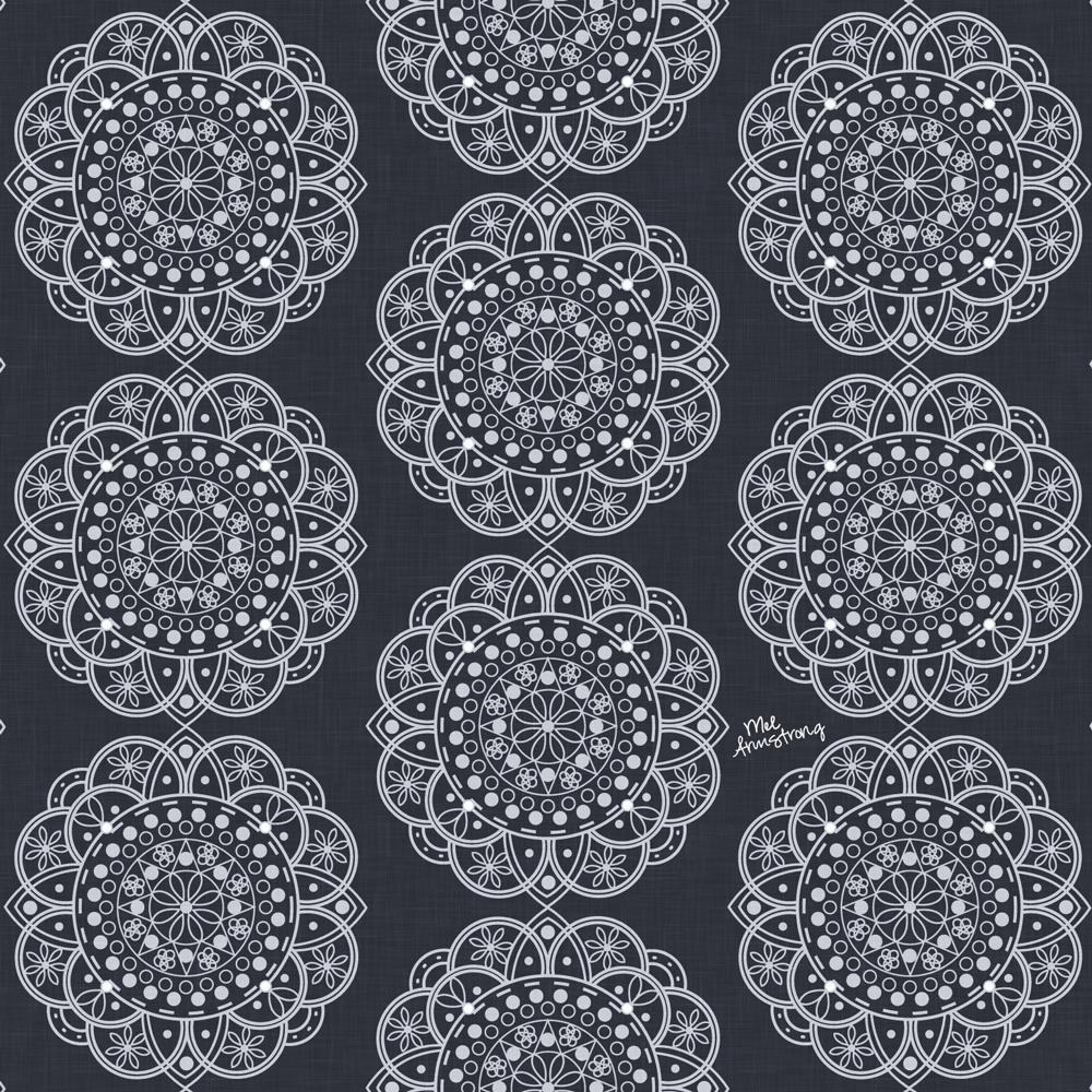 Student work by Mel Armstrong for   Drawing Geometric Designs: From Hand Sketch to Digital Pattern