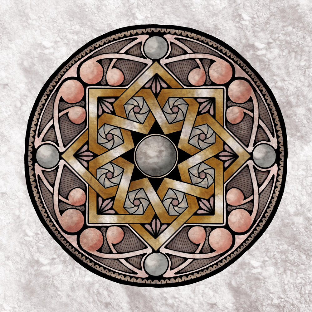 Student work by Melanie Knight for   Alhambra Star Mandala, Arabic Geometry Pattern - Drawing and Coloring