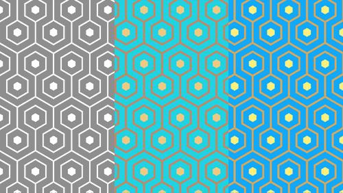 Different effects can be achieved in this pattern with various color schemes.
