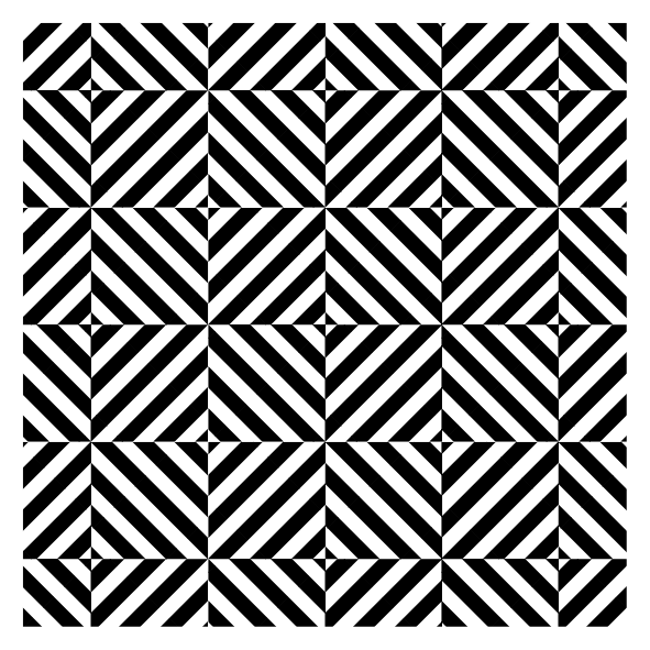 A simple black-and-white geometric design by Peter Bone.