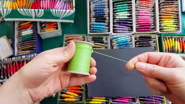 Bookbinding thread is available in many different thicknesses and colors.