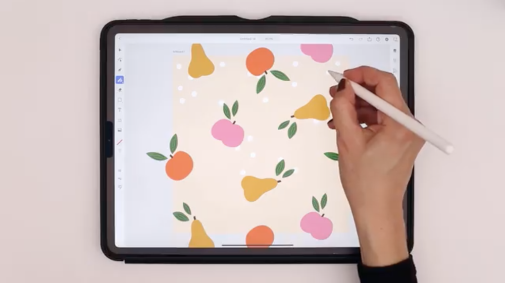 "From Maja Faber's Skillshare class, ""Create a Repeat Pattern With Adobe Illustrator on the iPad"""