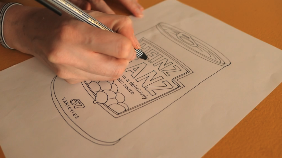 Illustrator and Skillshare instructor Mel Rye uses contact or tracing paper to create a line drawing that can later be scanned and digitized for final touch-ups.
