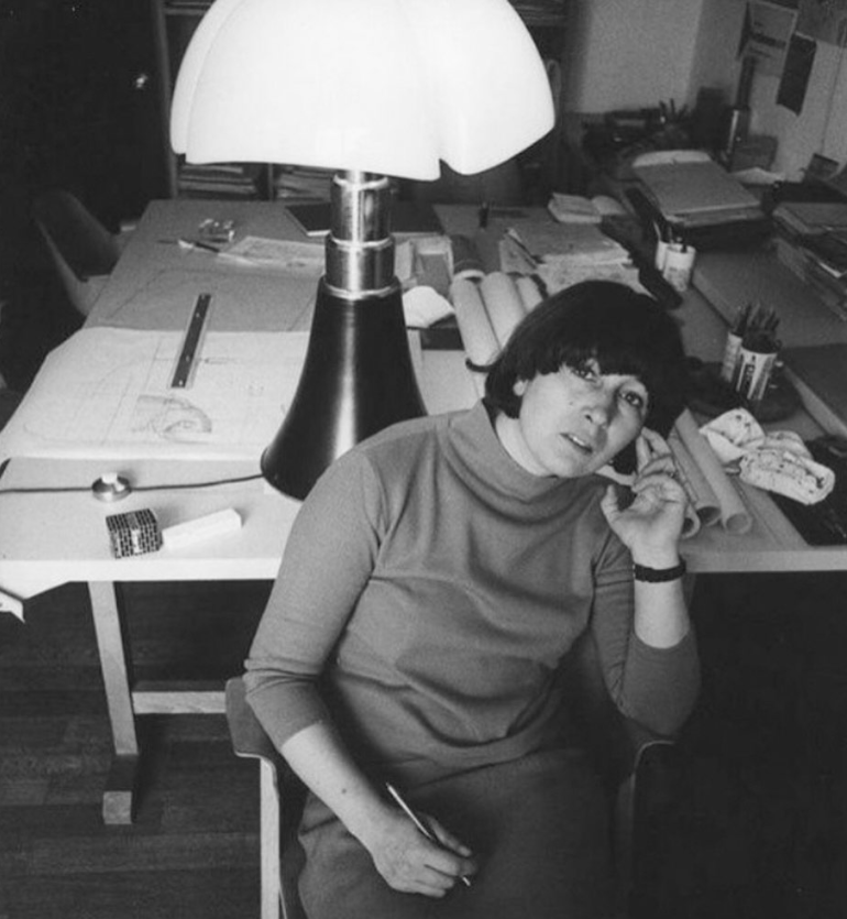 "Image via  Instagram   @riedizoneartoriaofficial    Gae Aulenti with her ""bat lamp,"" now part of the MOMA permanent collection."