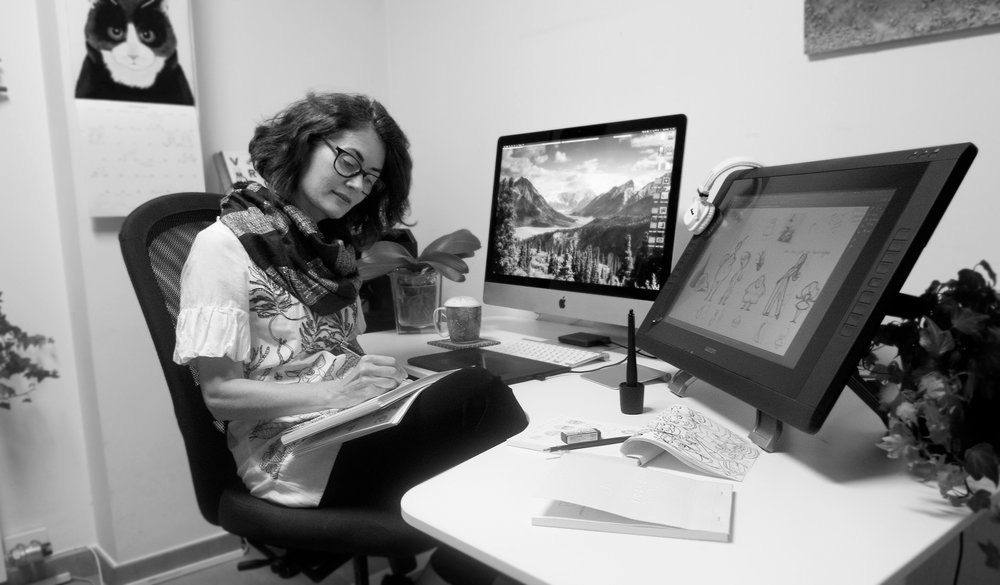 Liza Carey at work (image courtesy of the artist)