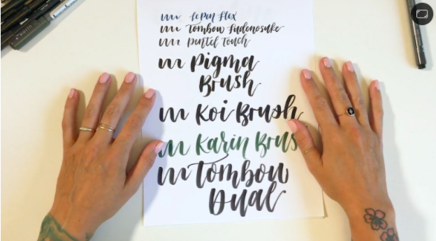 Skillshare teacher Peggy Dean demonstrates a range of different brush lettering pens, from small to large.