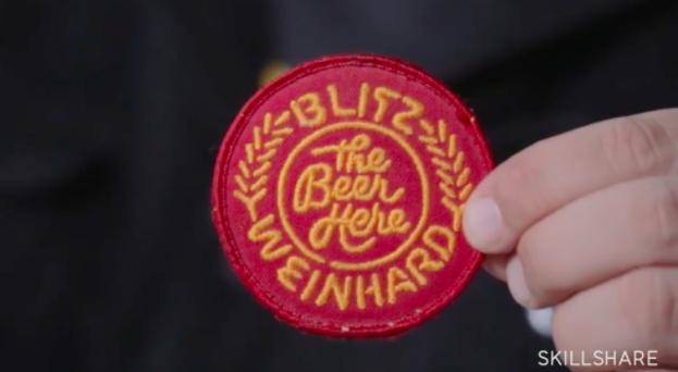 The fruits of Draplin's work ethic: a patch he designed for Blitz Weinhard.