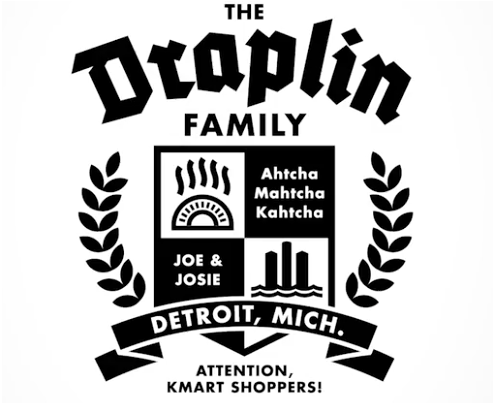 Though Draplin isn't afraid to operate apart from traditional workplace norms, he incorporates connection and keeps his motivations close by, as seen in this family crest that he designed as an example for one of his Skillshare courses.