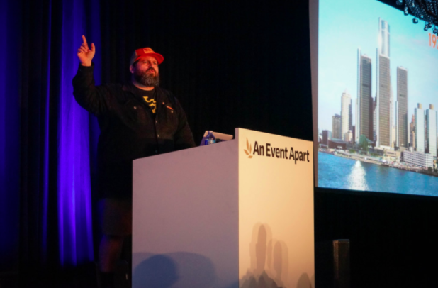 """Aaron Draplin: Tall Tales from a Large Man #AEASF""   by   Jeffrey   is licensed under   CC BY 2.0  ."