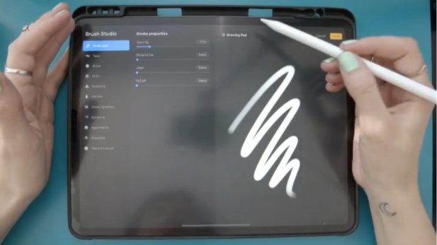 In Procreate 5's new Brush Studio, you can create custom brushes, as well as take advantage of brushes imported from Photoshop.