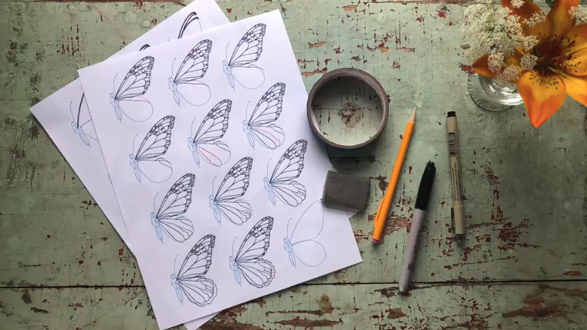 The first step to butterfly drawing is gathering your supplies.