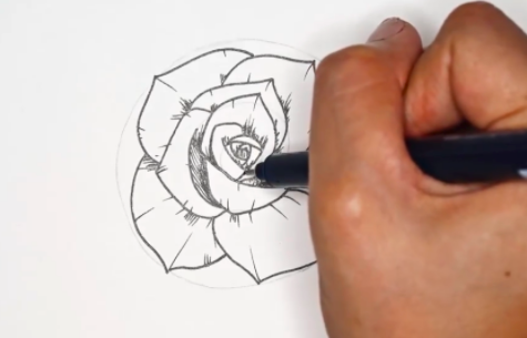 Lines to add shading help bring depth to your rose.