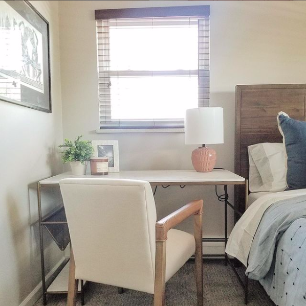 Source:    Instagram     Pull the chair away and you'd never know this nightstand is intended for use as a desk during the day.
