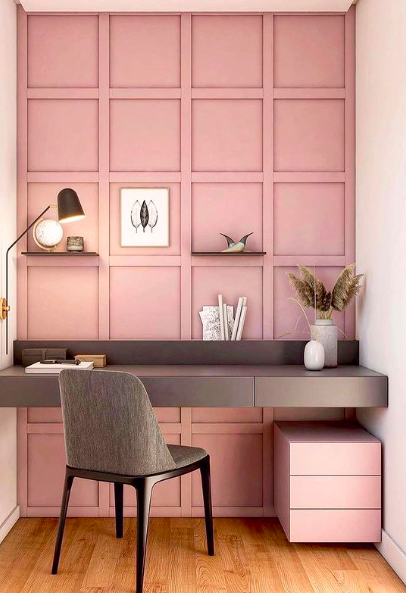 Source:    Instagram     Pink is a perfectly appropriate color for an office.