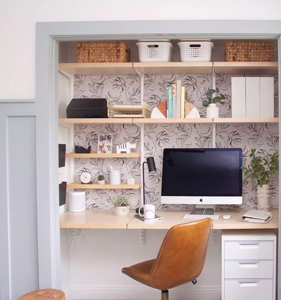 Source:    Instagram     Solve home office storage issues with space-efficient wall units.