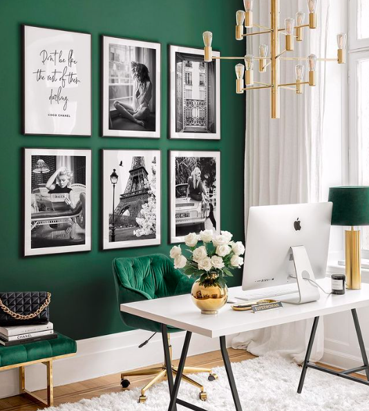 Source:    Instagram     A gallery wall can bring color and personal flair to your office.