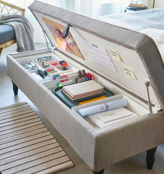Source:    Instagram     Tuck your office gear into a storage ottoman like this one.