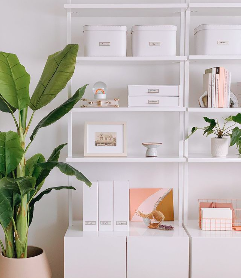 Source:    Instagram     Bins and filing systems are great investments for smaller home office spaces.