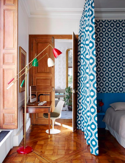 Source:    Instagram     Curtains create smaller areas in a multi-purpose room.