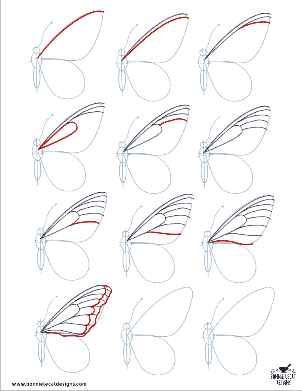 Follow this process to draw the lines in your butterfly's wings.