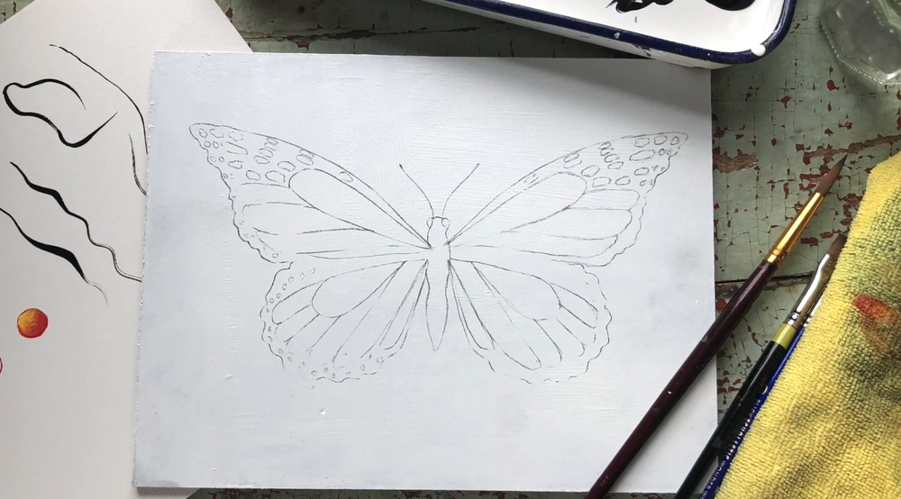 Skillshare instructor Bonnie Lecat shares her final butterfly result before she starts the painting process.
