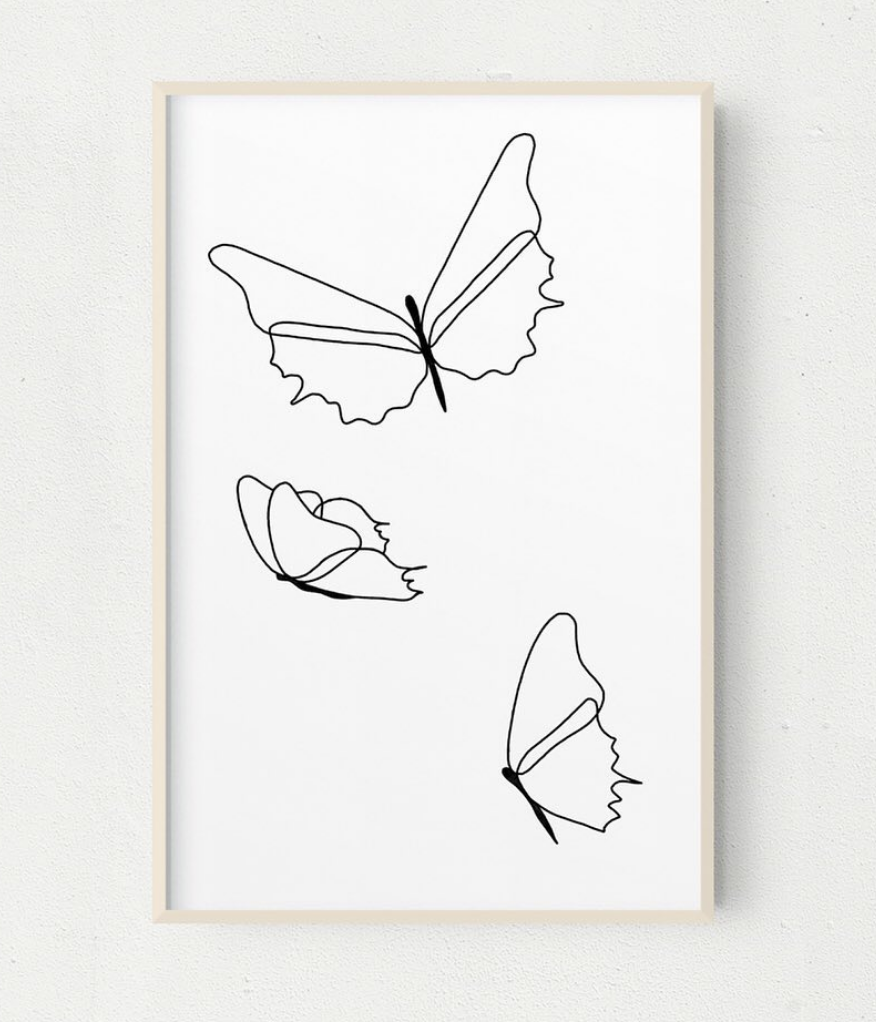 Beautiful butterfly wall art made with simple lines by Instagram user   @designnvdesign