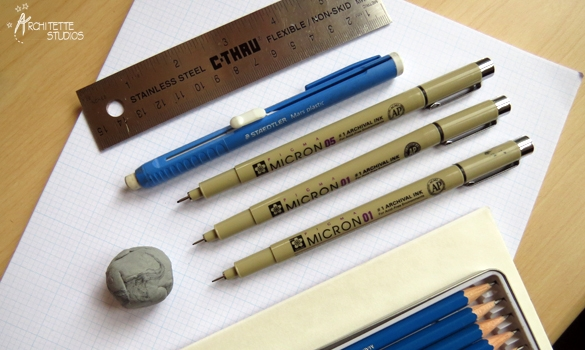 A selection of hand lettering tools. Photo from  Architette Studios