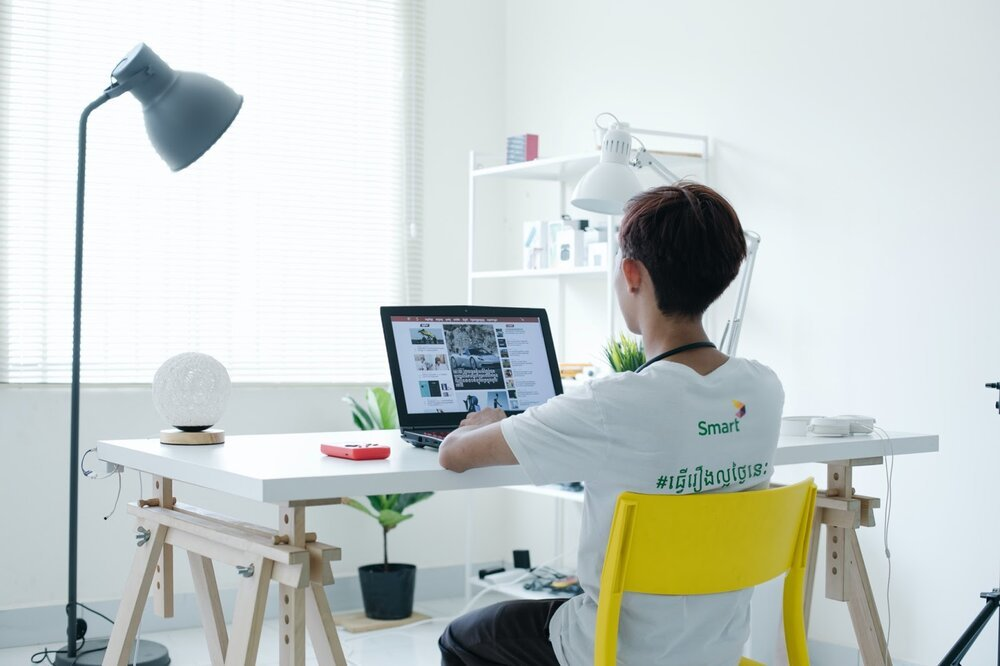 Source:     Unsplash     You can establish a home office in the middle of a larger space, if necessary.
