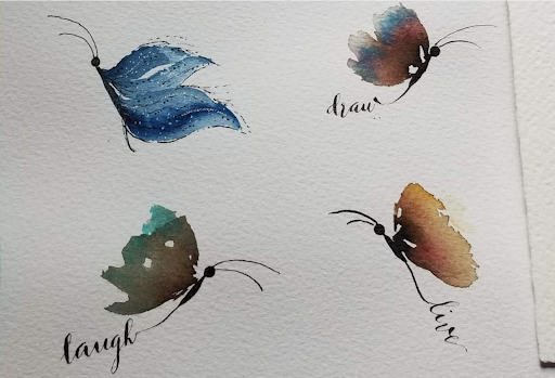 These delicate butterfly side views were painted in watercolor by Skillshare student Miriam Matsuda.