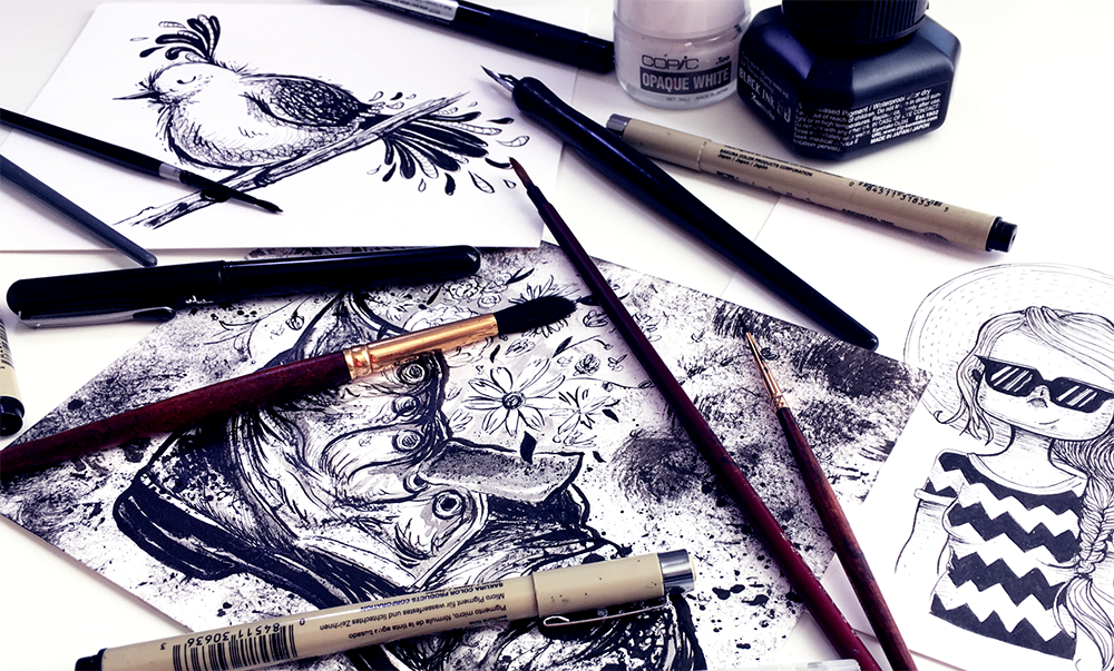 "From Yasmine Creates' Skillshare class, ""Pen and Ink Illustration: The Basics for Creating Magical Drawings"""