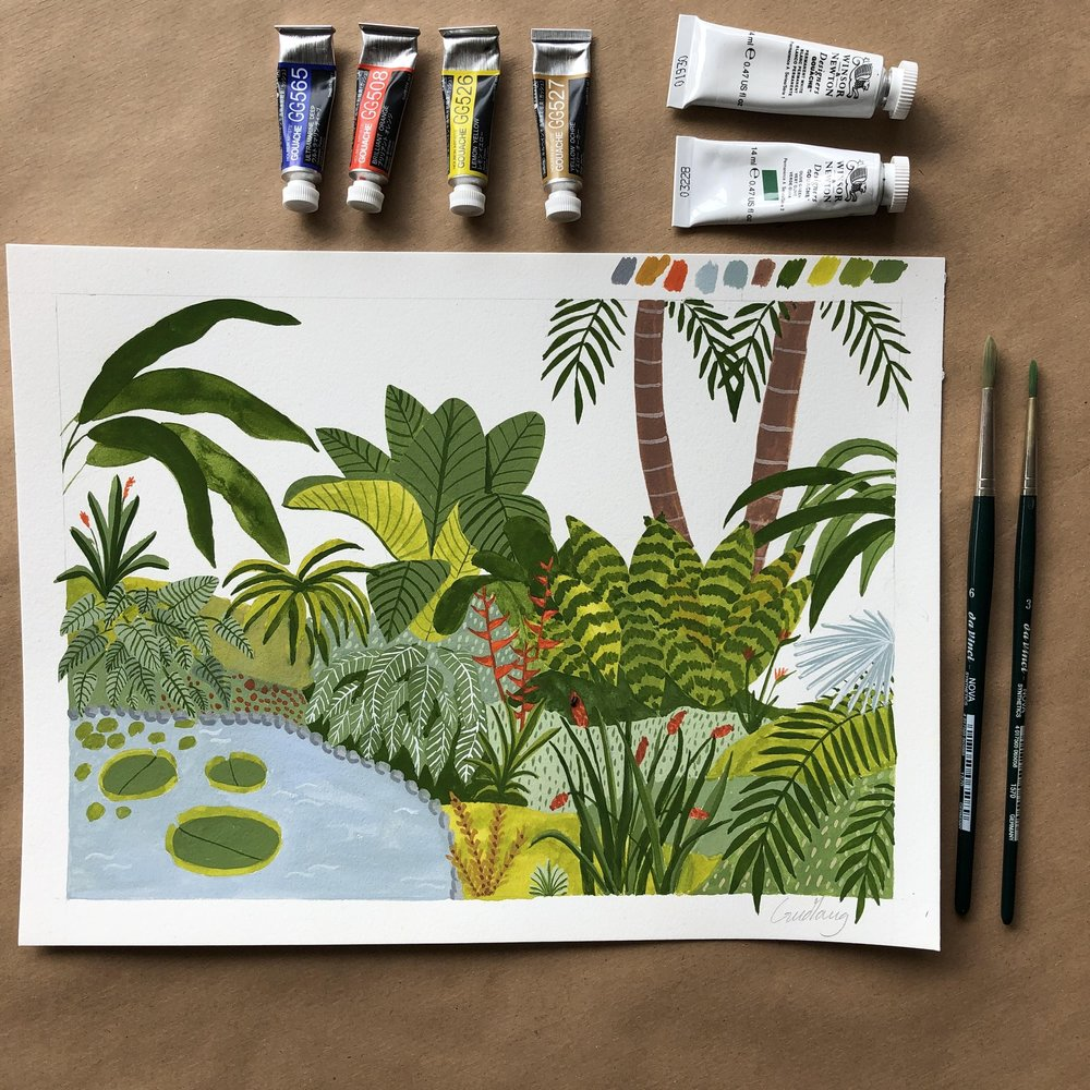 Gouache illustration by Skillshare student Gudlaug T ., who created the work for  Sara Boccaccini Meadows' Skillshare Originals class,  Botanical Illustration: Paint a Colorful Garden with Watercolor and Gouache
