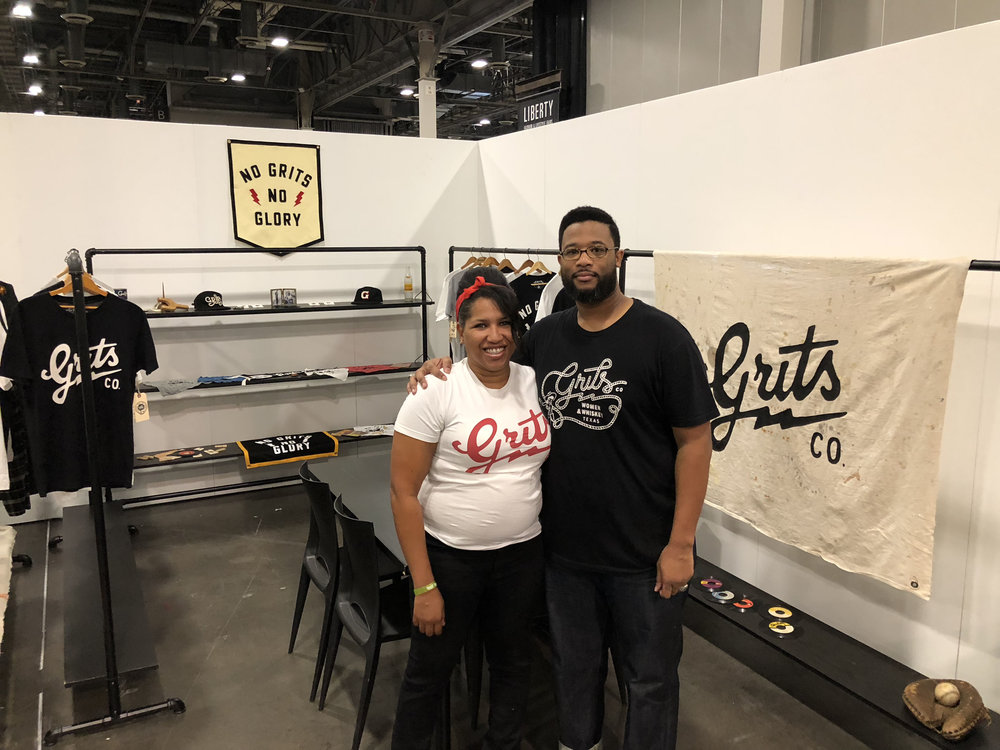 Reuben and Toya Levi in the Grits Co. Booth at the Agenda Show