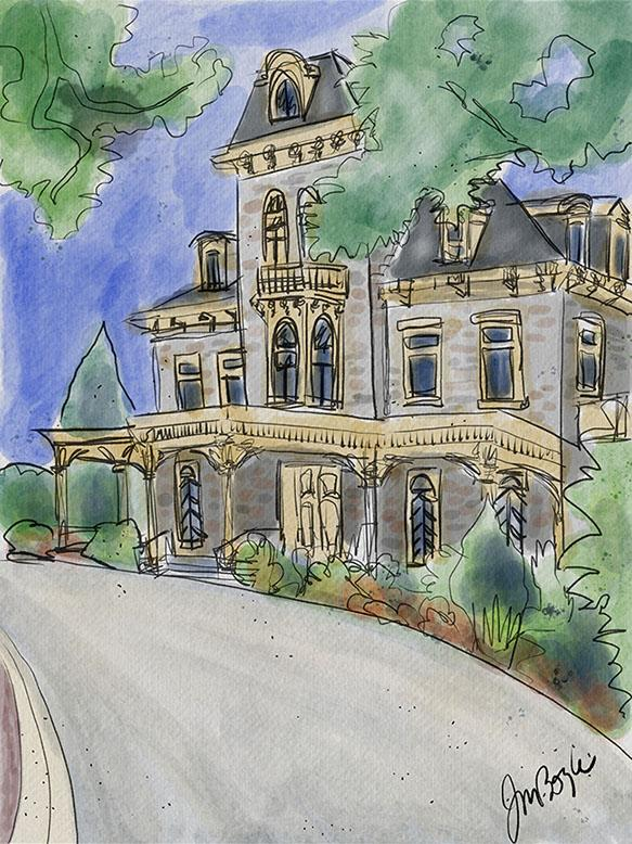 Mansion Ink and Wash  by Judy B.