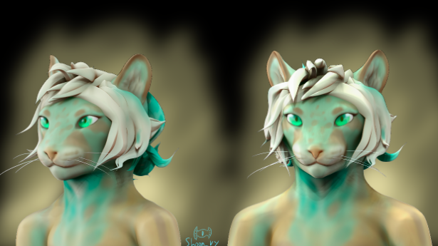 This example of fantasy character concept art depicts a human-feline hybrid.