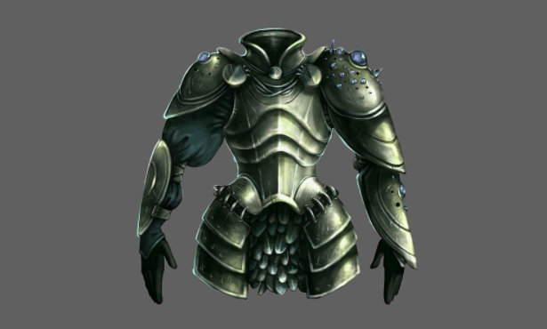 Mikhailova's final concept art illustration, depicting a suit of armor encrusted with jewels.