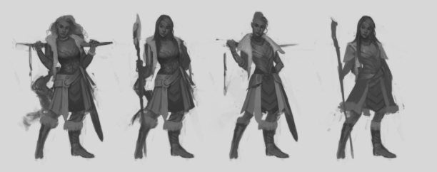 In the first few iterations of a character concept, variation and experimentation are key.