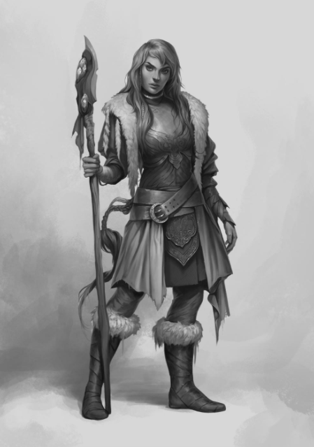 The final design of character concept art shows much more detail than the initial sketches.