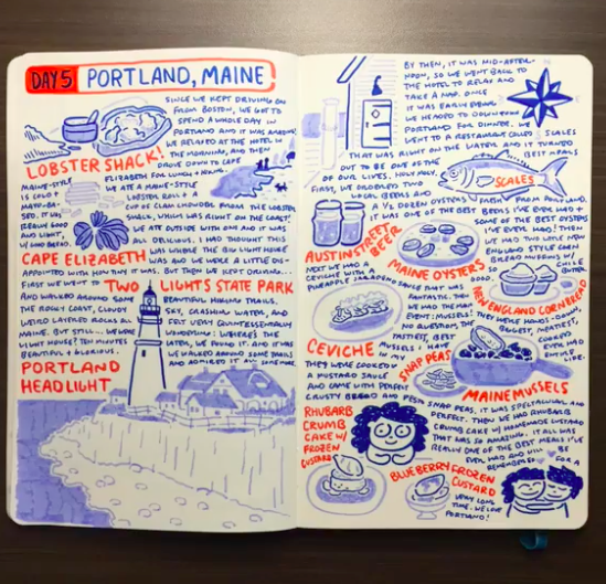 """An artist notebook documenting travel from Skillshare course """"Art Abroad: How to Create a Travel Sketchbook"""""""