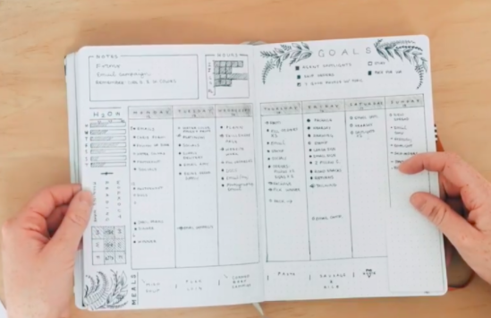 """A bullet journal example from the Skillshare course """"Bullet Journal Weekly Spread: Tips & Process to Make A Fresh Design!"""""""