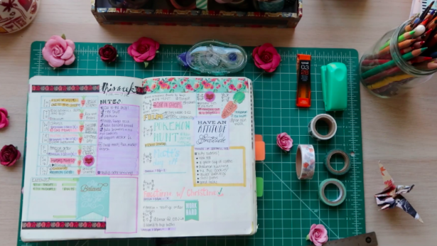 """A sample bullet journal from the Skillshare course """"Bullet Journaling for Self Care and Productivity"""""""