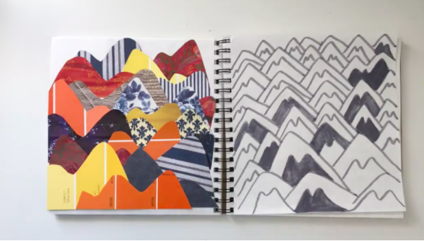 """This art notebook example from Skillshare course """"Defeat the Blank Page"""" shows that you don't have to be limited to pens and pencils."""
