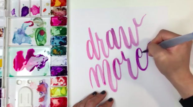 A watercolor pen with a flexible tip allows you to achieve thick downstrokes and thin upstrokes, creating the unique look of brush lettering.