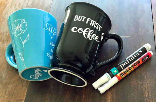 In Shelley Hitz's  class on easy mug design , she demonstrates how to hand letter a mug.