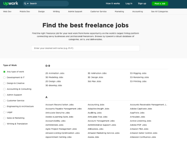 Upwork is one of the best-known marketplaces for freelance talent.