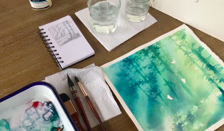 However you choose to set up your watercolor work space, ensure that your surfaces are protected and you have plenty of space to create.