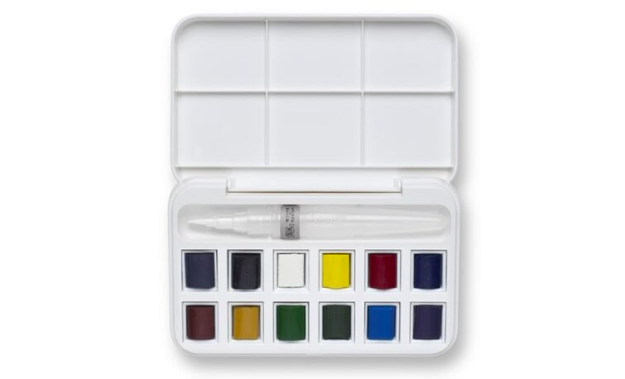 Winsor & Newton's mini watercolor set has everything you need to take your art on the road.