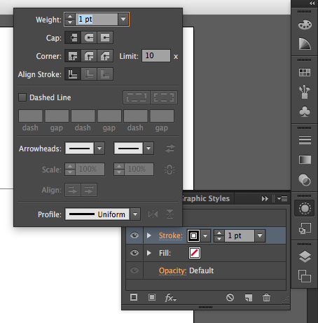 The appearance and stroke panels in Illustrator from the collapsed bar.