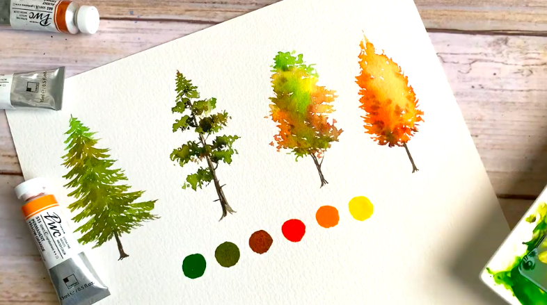 Autumn trees are great subjects if you want to practice your watercolor skills.