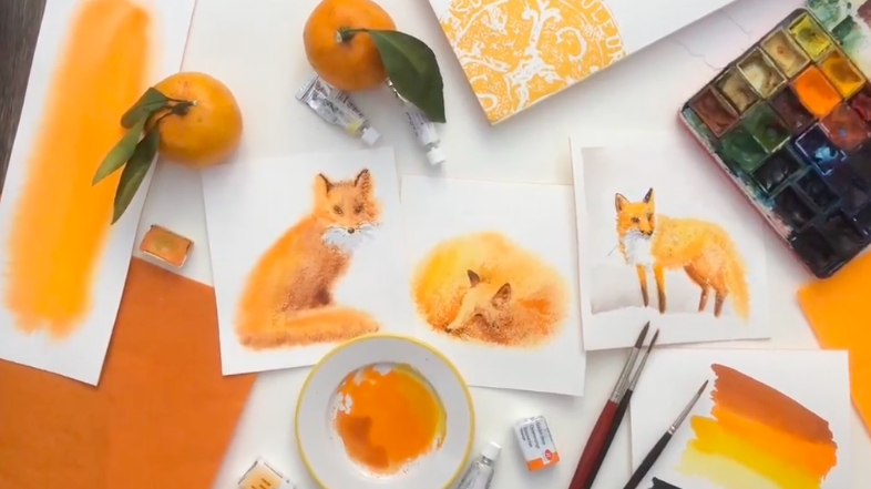 Find inspiration for your watercolor work through foxes or another furry friend!