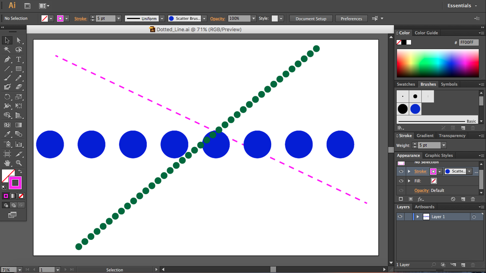 You can create all kinds of dotted and dashed lines in Illustrator.